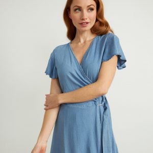 Chambray Belted Dress Style 211962