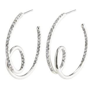 Silver Crystal Cherish Hoops