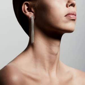 Silver Plated Chain Gudrun Earrings