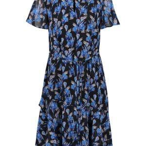 Blue Floral Sheer Overlay Dress