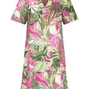 Tropical Print Linen Dress