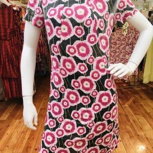 Deep Forest Floral Linen Dress
