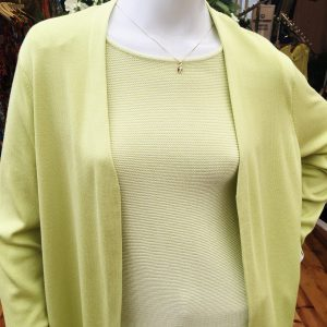 Lime Open Front Cardigan