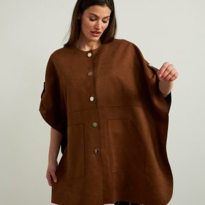 Brown Button Front Jacket Style 213405