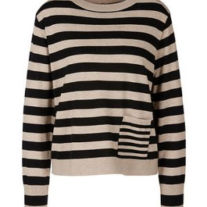 Pure Wool Striped Latte Sweater
