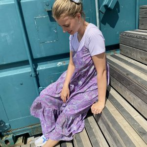 Luna Vero Lavender Paisley Print Dress