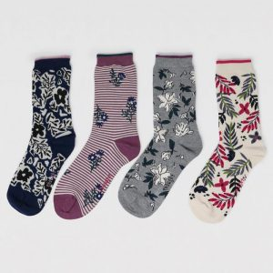 Rasmine Floral Bamboo Organic Cotton 4 Sock Gift Box
