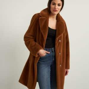 Rust Faux Fur Coat Style 213910