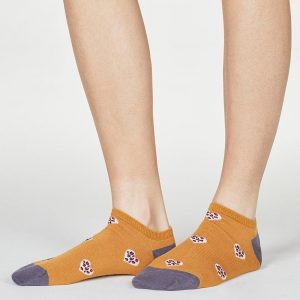 Lily Amber Leopard Heart Bamboo Organic Cotton Trainer Socks
