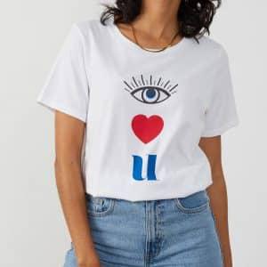 Lola White 'Eye Love U' T-Shirt