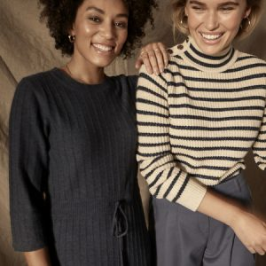 Lin Striped Knit in Salute Navy
