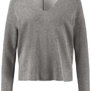 Grey Melange V-neck Jumper