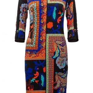 Mixed Paisley Print Dress Style 213658