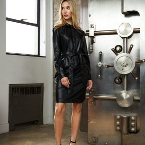 Faux Leather Shirt Dress Style 213953