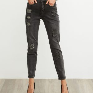Charcoal Patchwork Jeans Style 203072