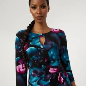 Floral Keyhole Neck Dress Style 213720