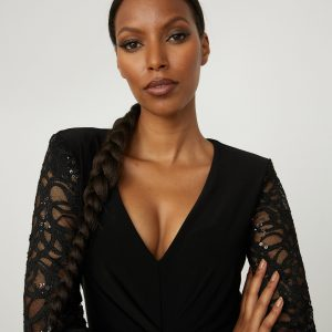 Lace Sleeve Dress Style 213721