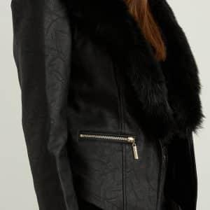 Black Faux Fur Jacket Style 213963