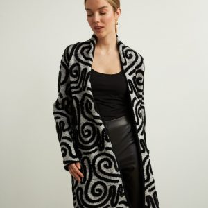 Abstract Swirl Long Cardigan Style 213993