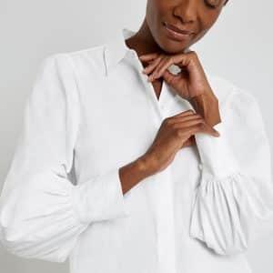 White Balloon Sleeve Blouse