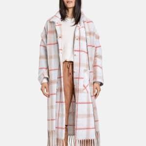 Blanket Check Coat with Fringing