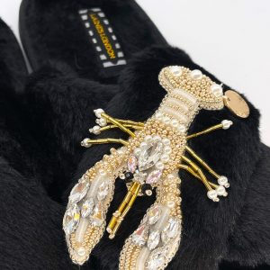 Black Faux Fur Pearl & Gold Lobster Classic Slippers