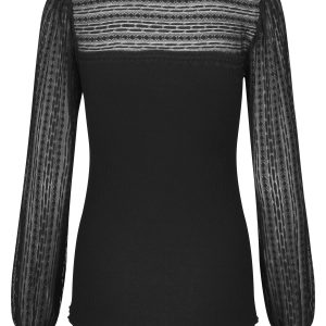 Black Silk Lace Top with Neck Tie