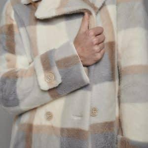 Favor Checked Faux Fur Coat