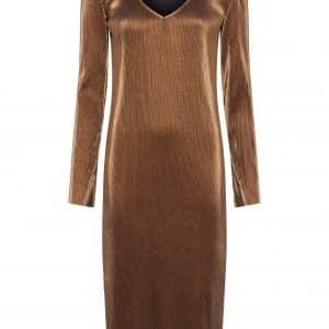 Taina Metallic Pleated Jersey Dress